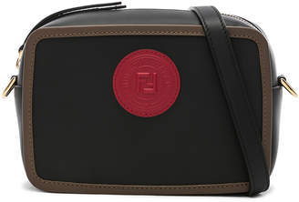Fendi Mini Logo Emblem Camera Case in Black, Brown & Strawberry | FWRD