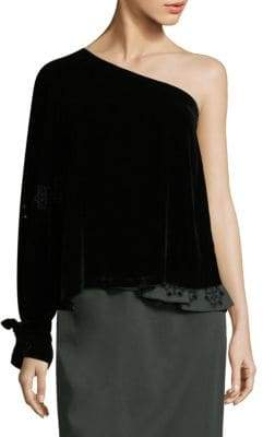 Tanya Taylor Velvet One-Shoulder Top