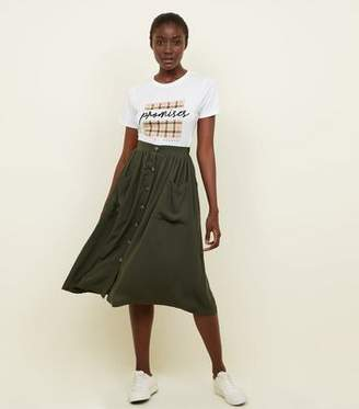 New Look Khaki Button Through Pocket Midi Skirt