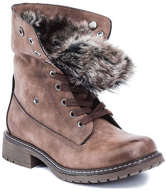 GC SHOES GC Shoes Womens Trudie Combat Boots Block Heel Lace-up