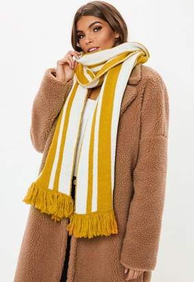Missguided Yellow Stripe Detail Scarf