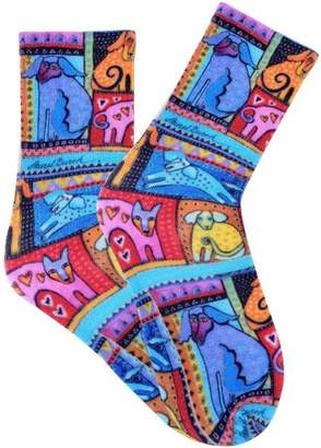 Laurèl Burch Socks, Colorful Dogs, Red