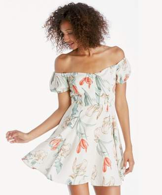 Sole Society Printed Off the Shoulder Dress