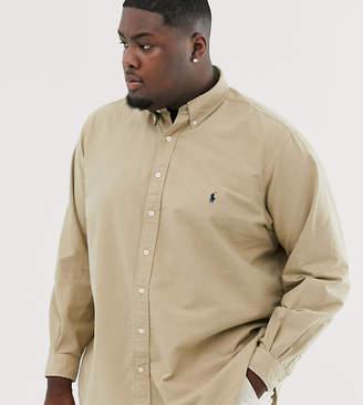 Polo Ralph Lauren Ralph Lauren Big & Tall player logo classic fit buttondown garment dyed oxford shirt in surrey tan