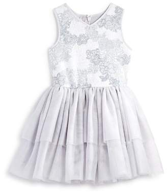 Pippa & Julie Girls' Floral Knit Tiered Tutu Dress - Little Kid
