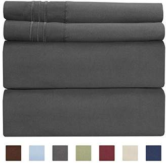 +Hotel by K-bros&Co Queen Size Sheet Set - 4 Piece - Hotel Luxury Bed Sheets - Extra Soft - Deep Pockets - Easy Fit - Breathable & Cooling Sheets - Wrinkle Free - Comfy – Dark Grey Bed Sheets - Queens Sheets – 4 PC