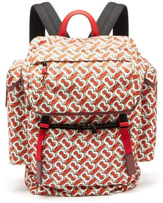 Burberry Tb Monogram Leather Trim Backpack - Mens - Red Multi