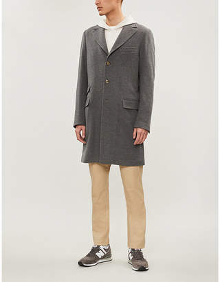 Eleventy Single-breasted wool and cashmere-blend coat