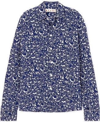 5b9858038f Marni Floral-print Silk Crepe De Chine Shirt - Blue