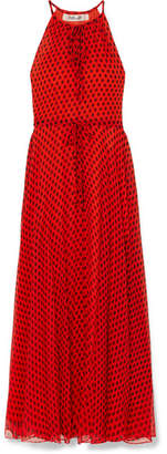 Diane von Furstenberg Polka-dot Crinkled Silk-chiffon Maxi Dress - Red
