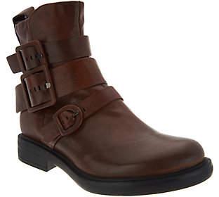Miz Mooz Leather Triple Buckle Ankle Boots -Casper
