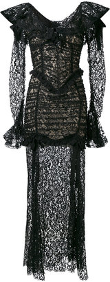 Alessandra Rich long-sleeved lace gown
