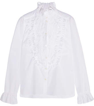 See by Chloé - Ruffle-trimmed Smocked Cotton-poplin Shirt - White $295 thestylecure.com