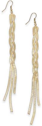 Thalia Sodi Gold-Tone Braided Herringbone Linear Drop Earrings, Created for Macy's