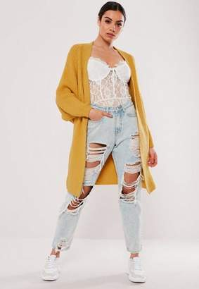 Missguided Mustard Oversized Batwing Long Knit Cardigan