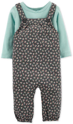 Carter's Carter Baby Girls 2-Pc. Cotton T-Shirt & Floral-Print Overalls Set