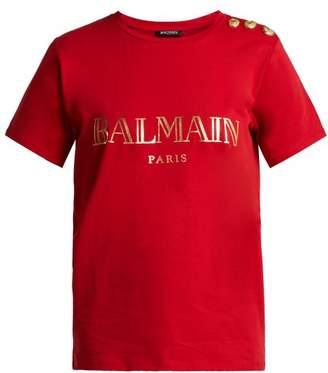Balmain Logo Print Cotton T Shirt - Womens - Red