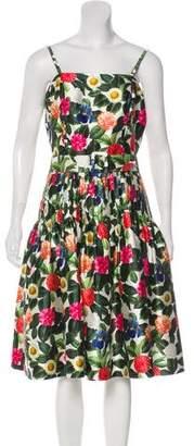 Oscar de la Renta 2018 Floral Print Midi Dress