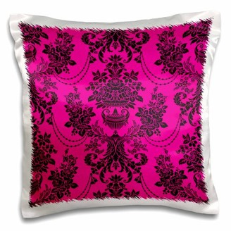 3dRose Trendy Chic Victorian Rose Ornate Damask Hot Pink Magenta and Black, Pillow Case, 16 by 16-inch