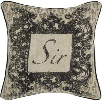 "Rizzy Home Decorative Poly Filled Throw Pillow ""Sir"" 18""X18"" Khaki"