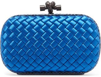 Bottega Veneta - The Knot Watersnake-trimmed Intrecciato Satin Clutch - Blue $1,580 thestylecure.com