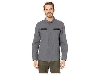 Kenneth Cole New York Long Sleeve Zipper Pocket Solid Shirt Men's Clothing