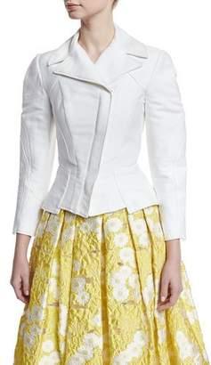 Zac Posen 3/4-Sleeve Stretch-Cotton Moto Jacket, White