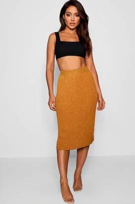 boohoo Metallic Pleated Knitted Midi Skirt