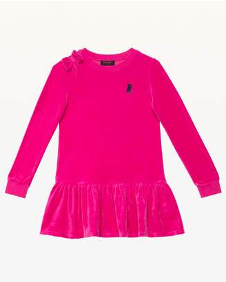 Juicy Couture Track Solid Velour Ls Bow Dress