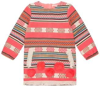 Billieblush Jacquard Stripe Pom Pom Dress