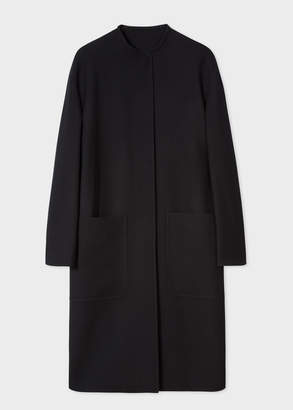 Paul Smith Women's Black Collarless 'Travel' Cocoon Coat