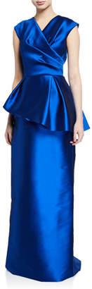 Rickie Freeman For Teri Jon V-Neck Cap-Sleeve Mikado Asymmetric Peplum Gown