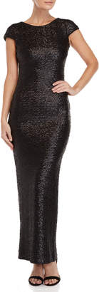 Dress the Population Black Teresa Sequin Backless Gown