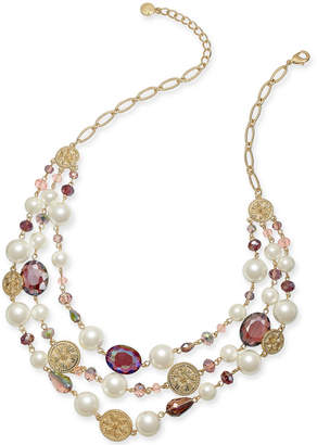 """Charter Club Gold-Tone Coin, Bead & Imitation Pearl Statement Necklace, 19"""" + 2"""" extender"""