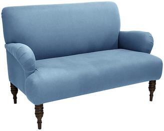 One Kings Lane Nicolette Settee - French Blue Linen