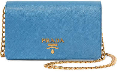 prada Prada - Textured-leather Shoulder Bag - Light blue