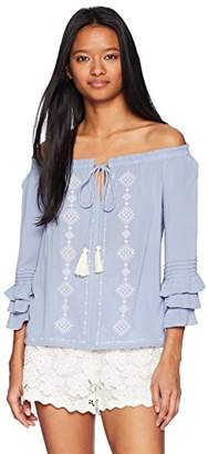 Miss Me Junior's Off The Shoulder Embroidered Ruffled Sleeve Top Blouse