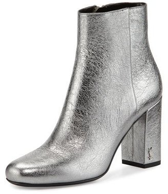 Saint Laurent Babies Metallic 90mm Ankle Boot, Gray $995 thestylecure.com