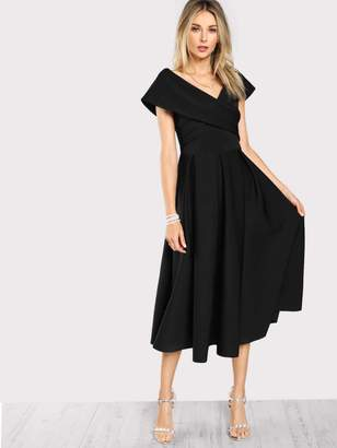 Shein Cross Wrap Box Pleated Formal Dress