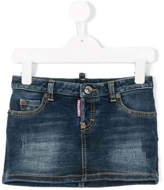 DSQUARED2 distressed denim mini skirt