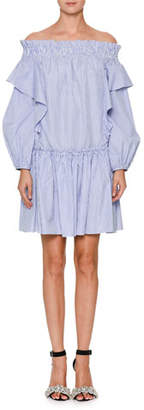Alexander McQueen Off-the-Shoulder Striped Tunic Dress with Ruffle Frills