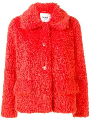 Stand faux fur jacket