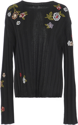 Red Valentino Embroidered Ribbed-Knit Sweater $795 thestylecure.com