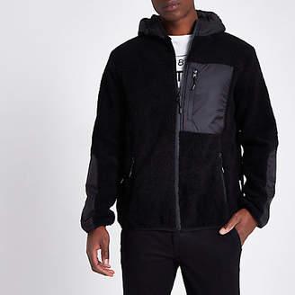 Bellfield black hooded zip up fleece jacket