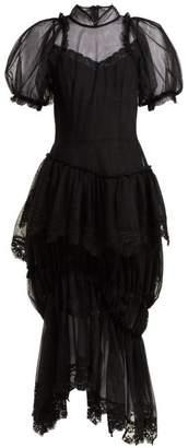 Simone Rocha Lace Embellished Tulle Dress - Womens - Black