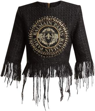 Balmain Logo-embroidered tweed top
