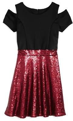 Us Angels Girls' Cold-Shoulder Contrast Sequin Dress - Big Kid