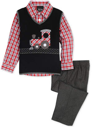 Nautica (ノーティカ) - Nautica Baby Boys 3-Pc. Train Sweater Vest, Plaid Shirt & Pants Set