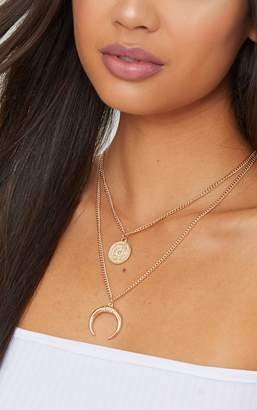 PrettyLittleThing Gold Coin Bull Horn Layered Necklace