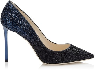 Jimmy Choo ROMY 100 Black and Navy Coarse Glitter Degrade Pointy Toe Pumps